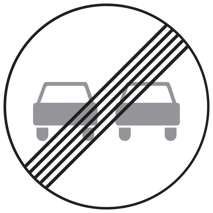 Дорожный знак 3.21 Конец запрещения обгона (Временный D=700)