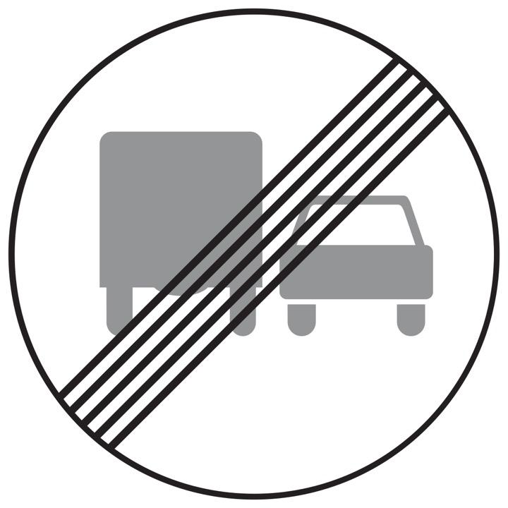 Дорожный знак 3.23 Конец запрещения обгона грузовым автомобилям (Временный D=700)