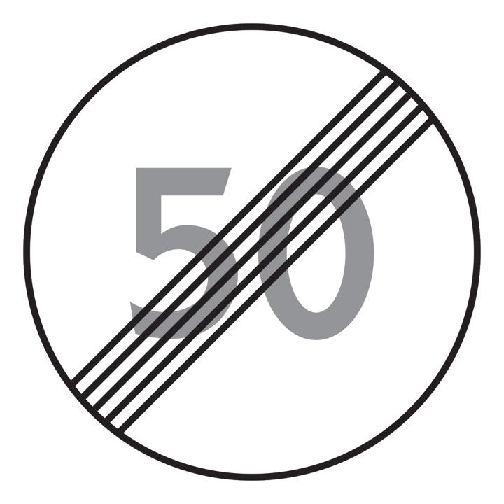 Дорожный знак 3.25 Конец ограничения максимальной скорости (Временный D=700)