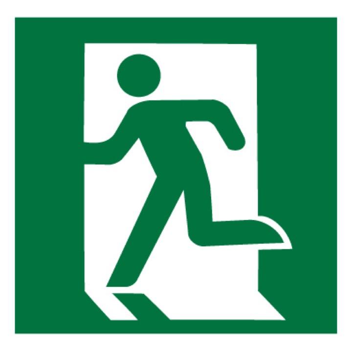Знак E01-01 Выход здесь (Левосторонний) •ГОСТ 12.4.026-2015• (Пластик 200 х 200)
