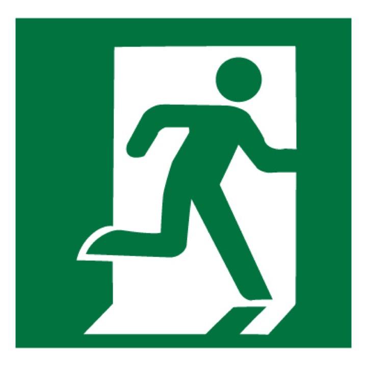Знак E01-02 Выход здесь (Правосторонний) •ГОСТ 12.4.026-2015• (Пластик 200 х 200)