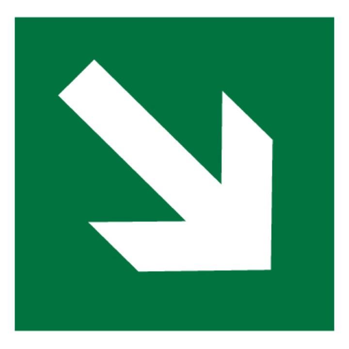 Знак E02-02 Направляющая стрелка под углом 45° •ГОСТ 12.4.026-2015• (Пленка 200 х 200)
