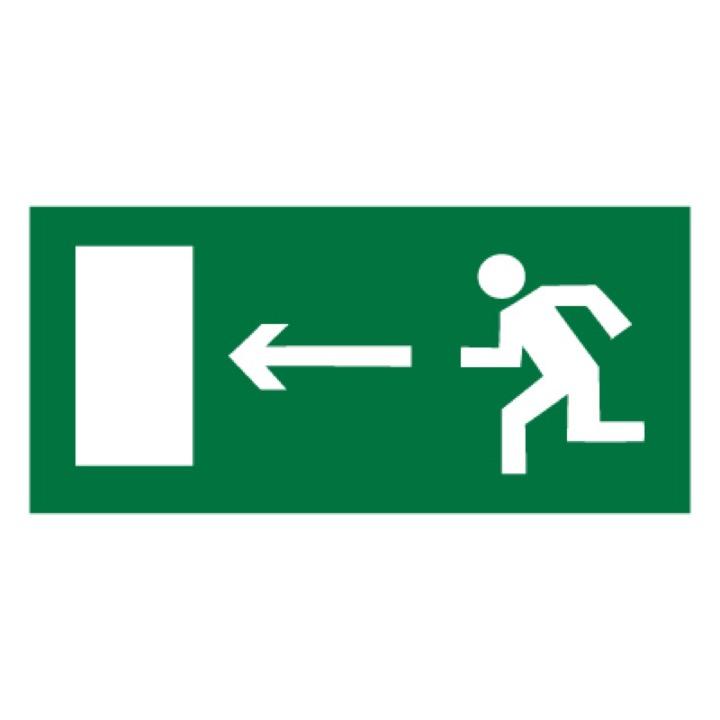 Знак E04 Направление к эвакуационному выходу налево •ГОСТ 12.4.026-2015• (Пластик 150 х 300)