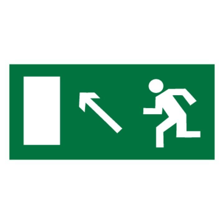 Знак E06 Направление к эвакуационному выходу налево вверх •ГОСТ 12.4.026-2015• (Пластик 150 х 300)