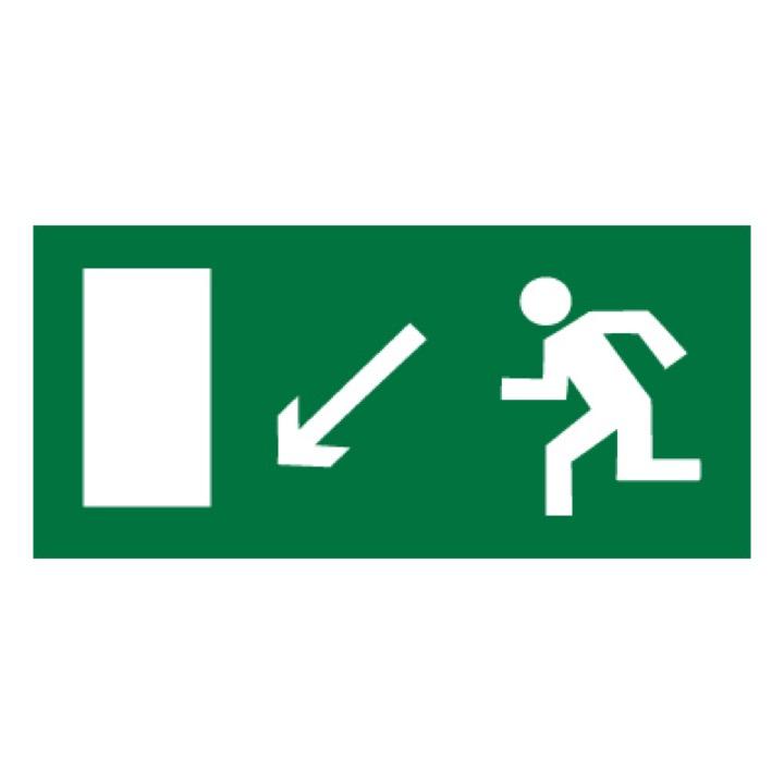 Знак E08 Направление к эвакуационному выходу налево вниз •ГОСТ 12.4.026-2015• (Пленка 150 х 300)