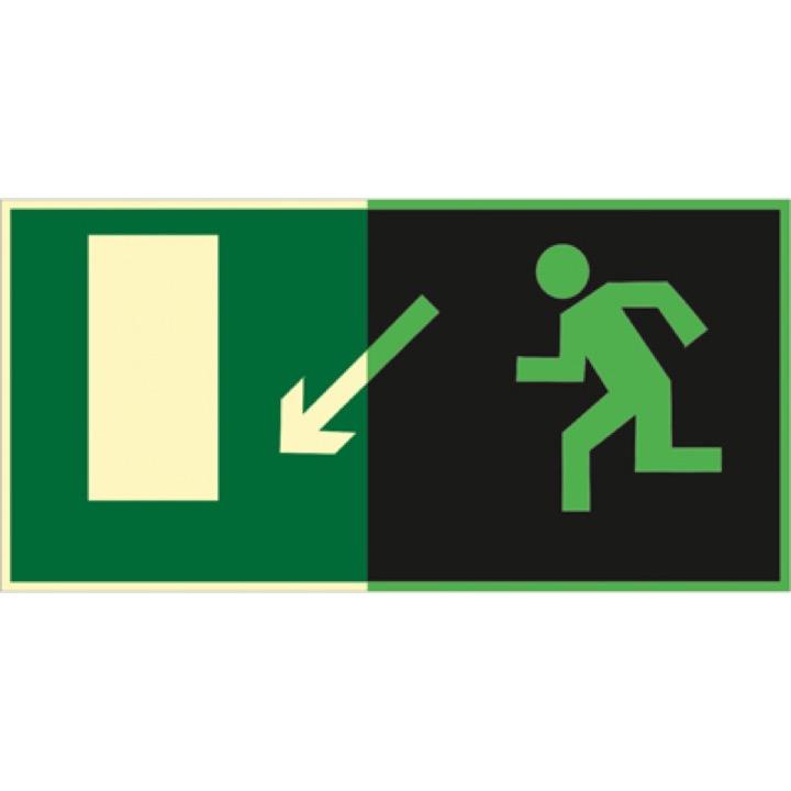Знак E08 Направление к эвакуационному выходу  налево вниз (Фотолюминесцентный Пленка 150 x 300) Т1