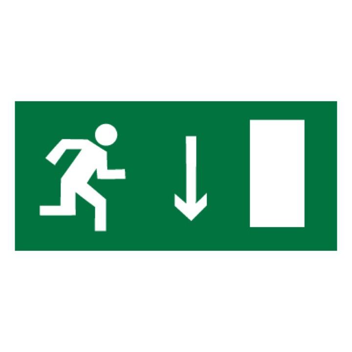 Знак E09 Указатель двери эвакуационного выхода (правосторонний) •ГОСТ 12.4.026-2015• (Пленка 150 х 300)