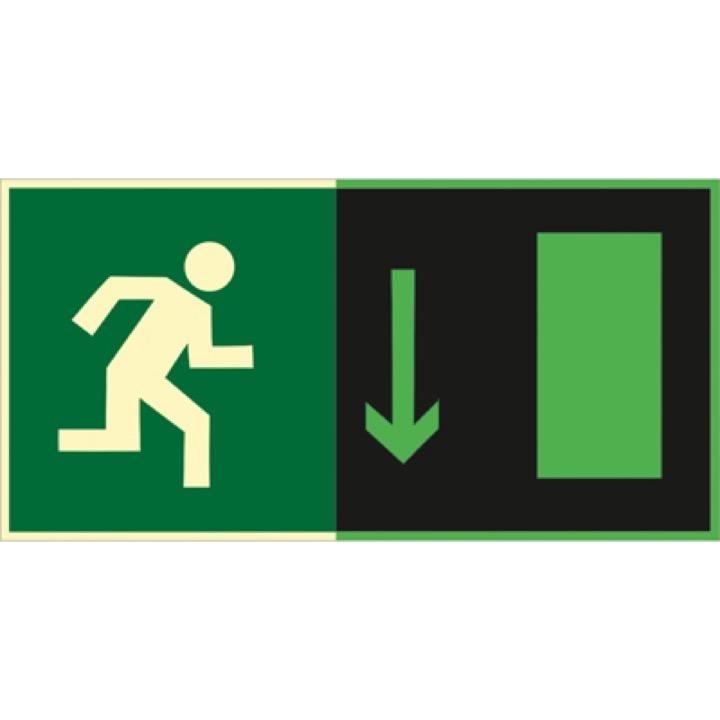 Знак E09 Указатель  двери  эвакуационного выхода (правосторонний ) (Фотолюминесцентный Пластик 150 x 300) Т1