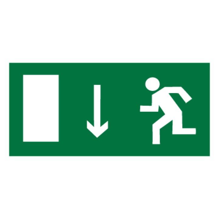 Знак E10 Указатель двери эвакуационного выхода (левосторонний) •ГОСТ 12.4.026-2015• (Пленка 150 х 300)