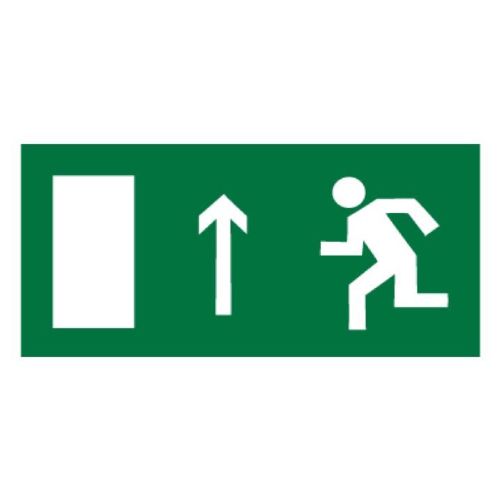 Знак E12 Направление к эвакуационному выходу прямо (левосторонний) •ГОСТ 12.4.026-2015• (Пластик 150 х 300)