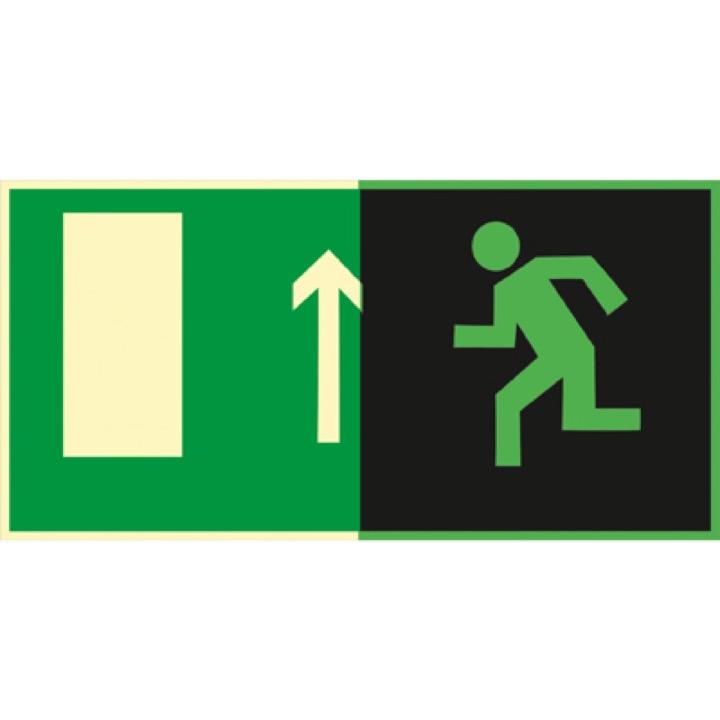 Знак E12 Направление к эвакуационному выходу прямо (Фотолюминесцентный Пленка 150 x 300) Т2
