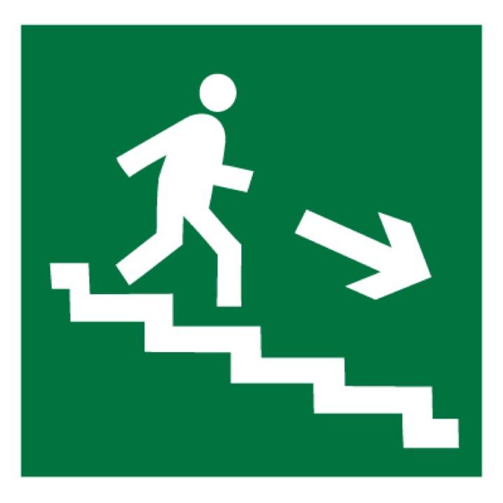 Знак E13 Направление к эвакуационному выходу по лестнице вниз (правосторонний) •ГОСТ 12.4.026-2015• (Пленка 200 х 200)