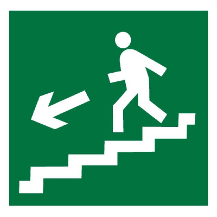 Знак E14 Направление к эвакуационному выходу по лестнице вниз (левосторонний) •ГОСТ 12.4.026-2015• (Пленка 200 х 200)