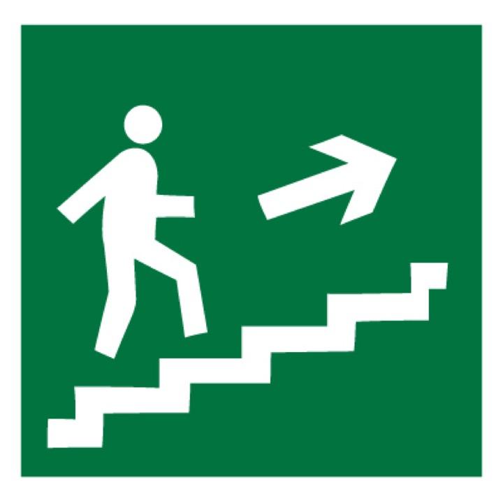 Знак E15 Направление к эвакуационному выходу по лестнице вверх (правосторонний) •ГОСТ 12.4.026-2015• (Пленка 200 х 200)