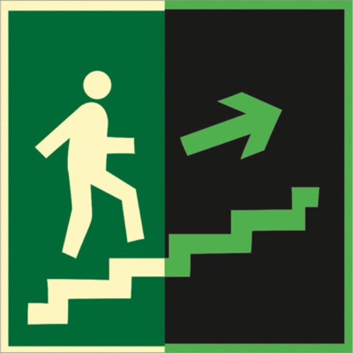 Знак E15 Направление к эвакуационному выходу по лестнице вверх (правосторонний) (Фотолюминесцентный Пластик 200 x 200) Т2
