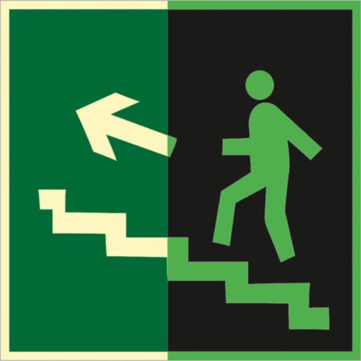 Знак E16 Направление к эвакуационному выходу по лестнице вверх (левосторонний) (Фотолюминесцентный Пленка 200 x 200) Т1