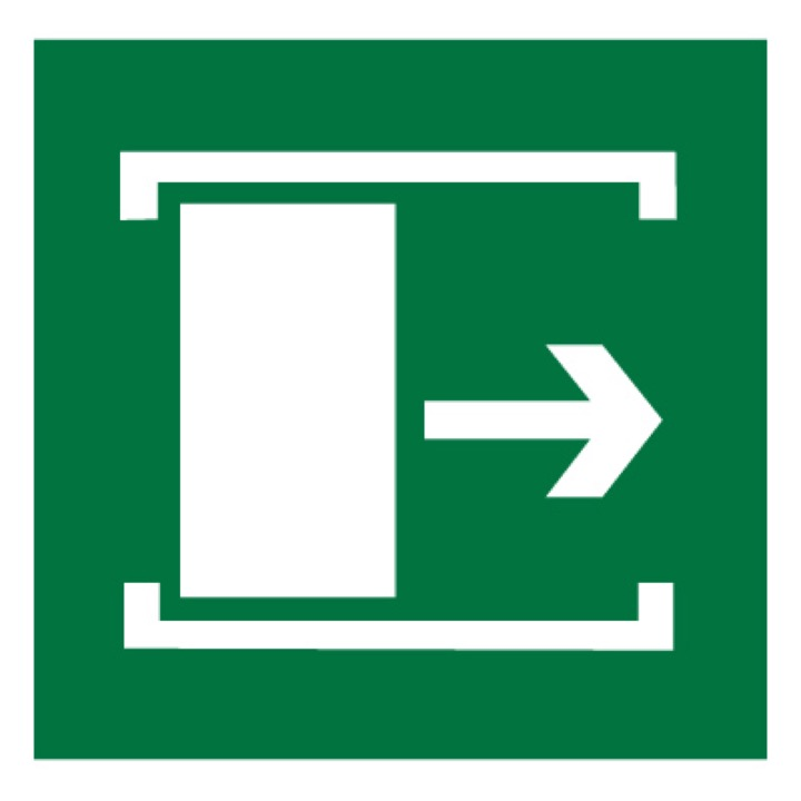 Знак E20 Для открывания сдвинуть •ГОСТ 12.4.026-2015• (Пленка 200 х 200)