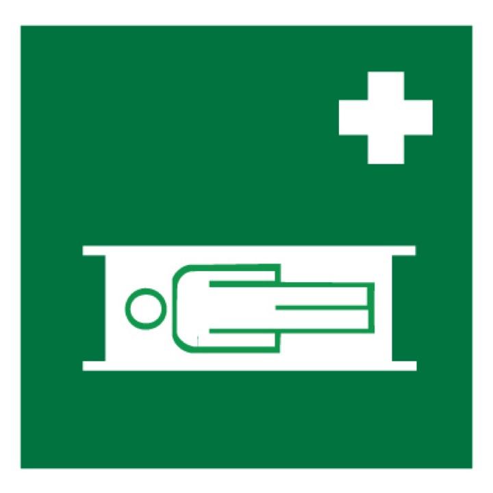 Знак EC02 Средства выноса (эвакуации) пораженных •ГОСТ 12.4.026-2015• (Пленка 200 х 200)