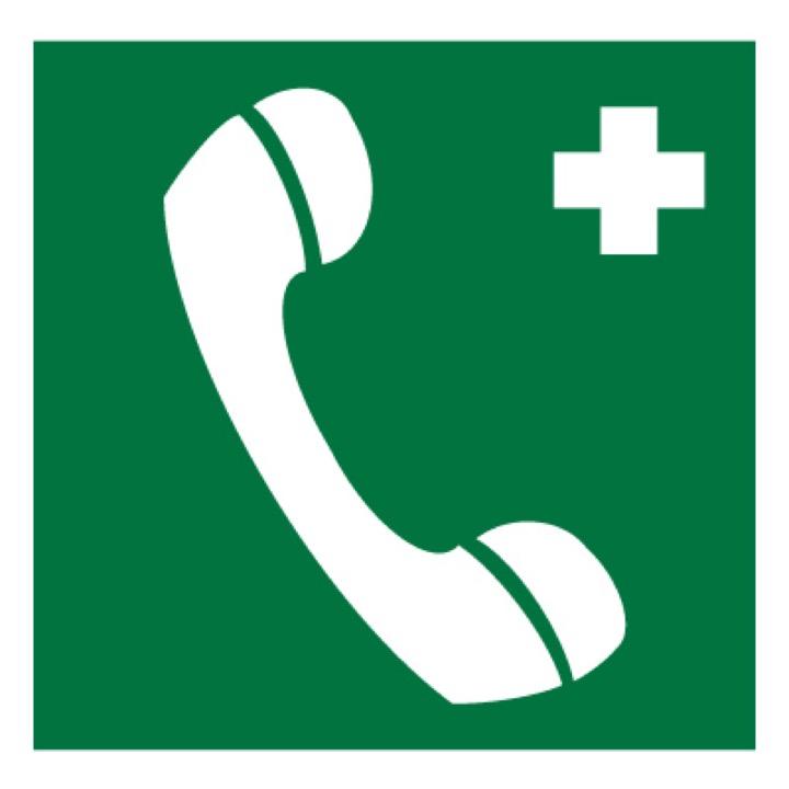 Знак EC06 Телефон связи с медицинским пунктом (скорой медицинской помощью) •ГОСТ 12.4.026-2015• (Пластик 200 х 200)