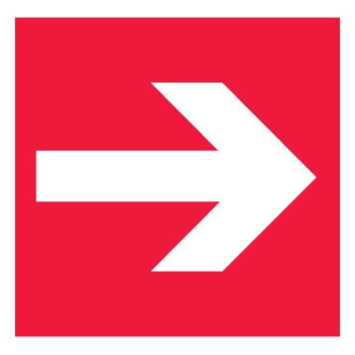 Знак F01-01 Направляющая стрелка •ГОСТ 12.4.026-2015• (Пленка 200 х 200)