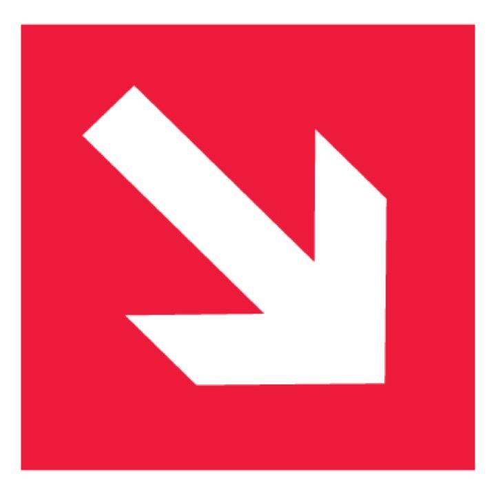 Знак F01-02 Направляющая стрелка под углом 45° •ГОСТ 12.4.026-2015• (Пленка 200 х 200)