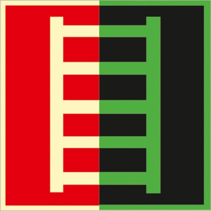 Знак F03 Пожарная лестница (Фотолюминесцентный Пластик 200 x 200) Т1