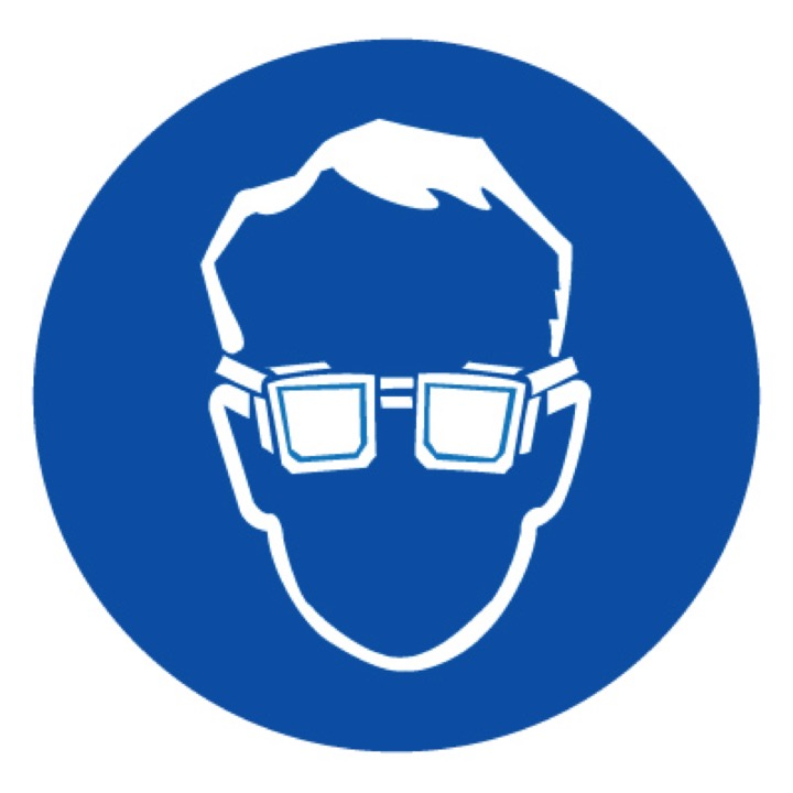 Знак M01 Работать в защитных очках •ГОСТ 12.4.026-2015• (Пленка 200 х 200)