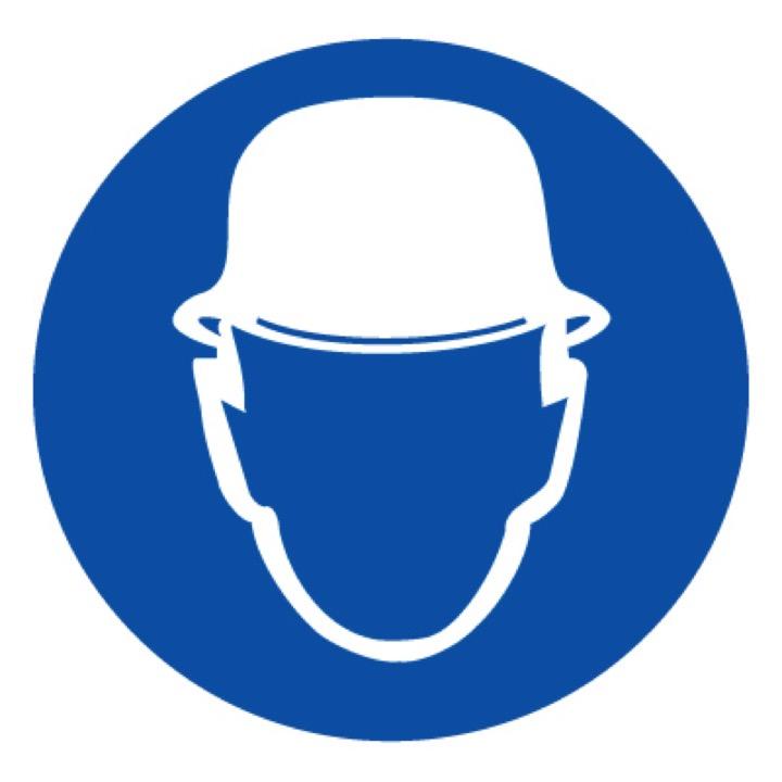 Знак M02 Работать в защитной каске (шлеме) •ГОСТ 12.4.026-2015• (Пластик 200 х 200)
