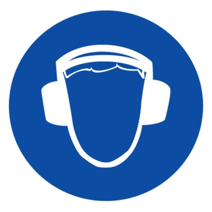 Знак M03 Работать в защитных наушниках •ГОСТ 12.4.026-2015• (Пленка 200 х 200)