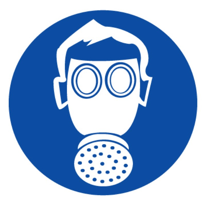 Знак M04 Работать в средствах индивидуальной защиты органов дыхания! (Пластик 100 X 100)