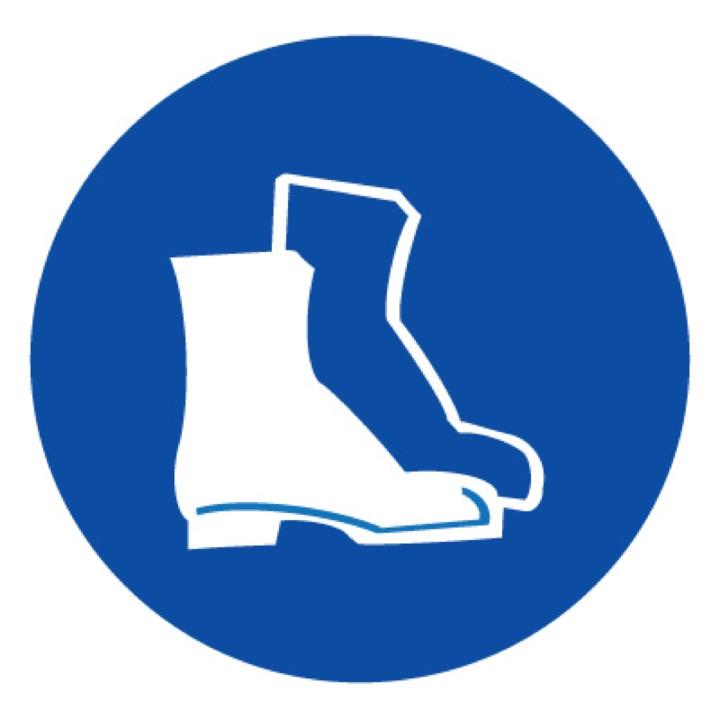 Знак M05 Работать в защитной обуви •ГОСТ 12.4.026-2015• (Пленка 200 х 200)