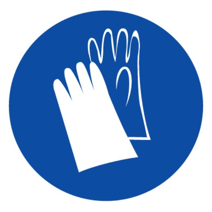 Знак M06 Работать в защитных перчатках •ГОСТ 12.4.026-2015• (Пластик 200 х 200)