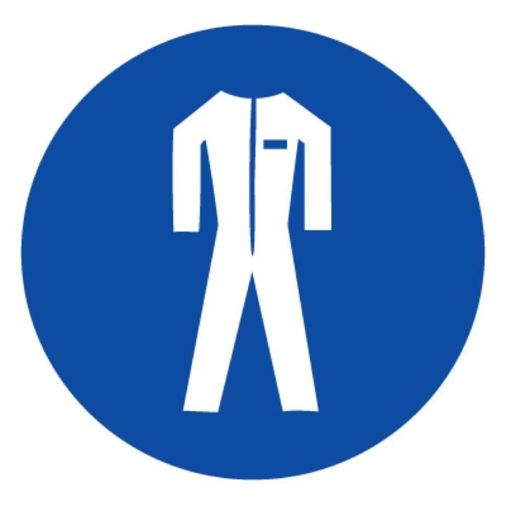 Знак M07 Работать в защитной одежде •ГОСТ 12.4.026-2015• (Пластик 200 х 200)
