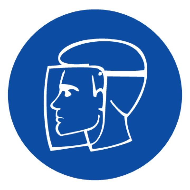 Знак M08 Работать в защитном щитке •ГОСТ 12.4.026-2015• (Пластик 200 х 200)
