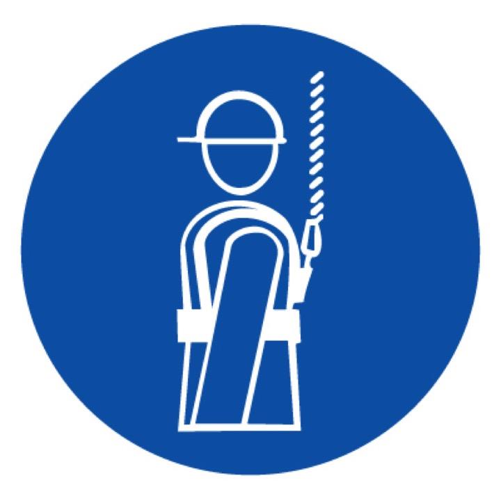 Знак M09 Работать в предохранительном (страховочном) поясе •ГОСТ 12.4.026-2015• (Пленка 200 х 200)