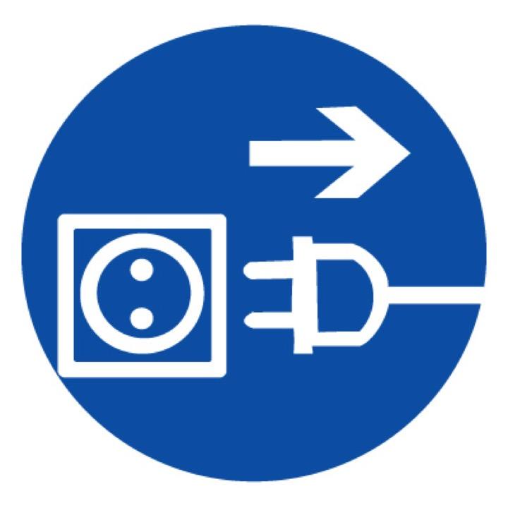 Знак M13 Отключить штепсельную вилку •ГОСТ 12.4.026-2015• (Пленка 200 х 200)