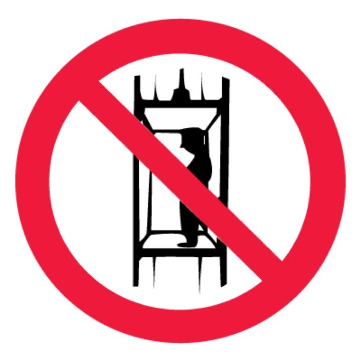 Знак P13 Запрещается подъем (спуск) людей по шахтному стволу ...  •ГОСТ 12.4.026-2015• (Пластик 200 х 200)