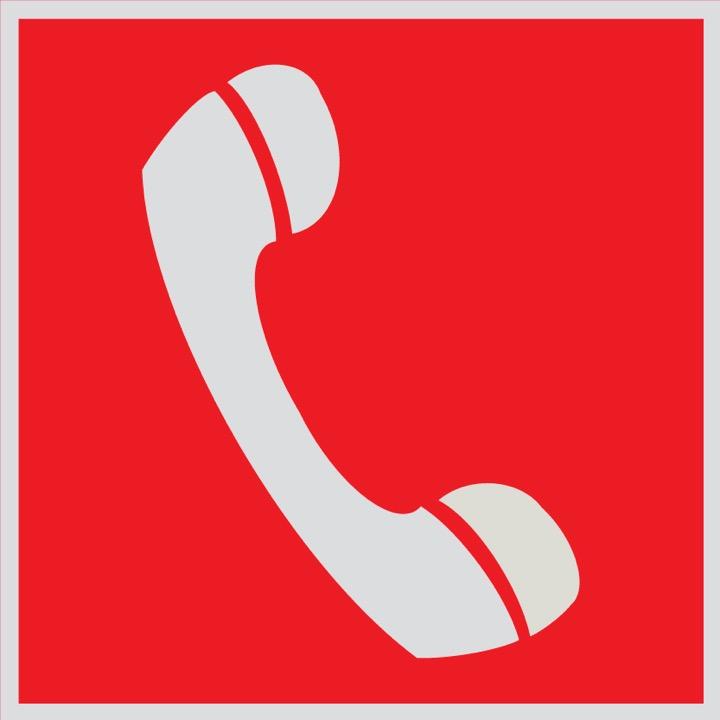 Знак F05 Телефон для использования при пожаре (в том числе телефон прямой связи с пожарной охраной) •ГОСТ 12.4.026-201 (Световозвращающий Пленка 200 х