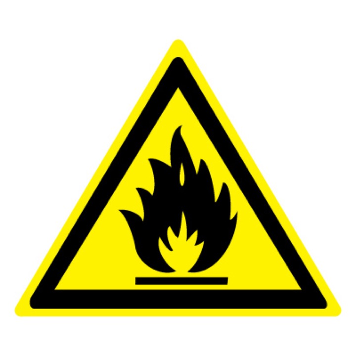 Знак W01 Пожароопасно! Легковоспламеняющиеся вещества •ГОСТ 12.4.026-2015• (Пленка 200 х 200)