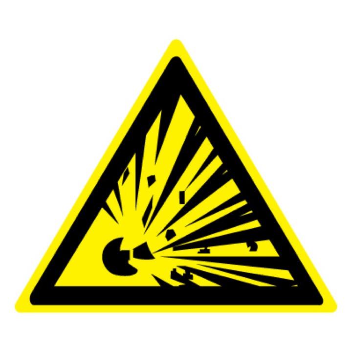 Знак W02 Взрывоопасно •ГОСТ 12.4.026-2015• (Пленка 200 х 200)