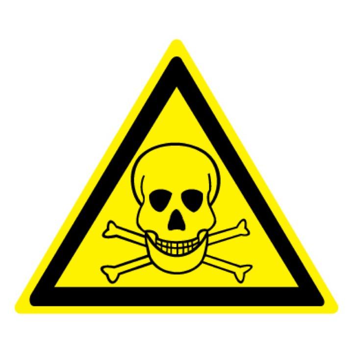 Знак W03 Опасно! Ядовитые вещества •ГОСТ 12.4.026-2015• (Пластик 200 х 200)