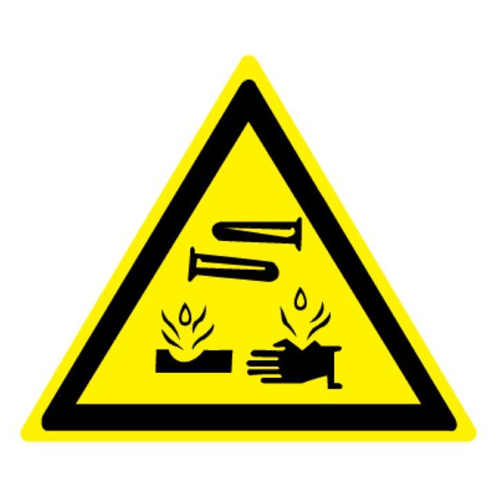 Знак W04 Опасно! Едкие и коррозионные вещества •ГОСТ 12.4.026-2015• (Пленка 200 х 200)