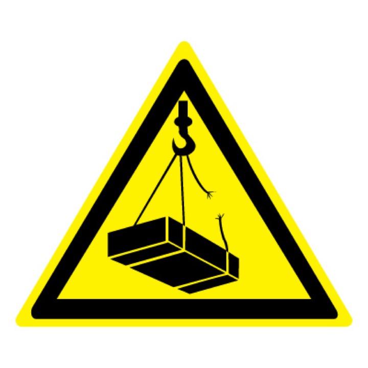 Знак W06 Опасно! Возможно падение груза •ГОСТ 12.4.026-2015• (Пластик 200 х 200)