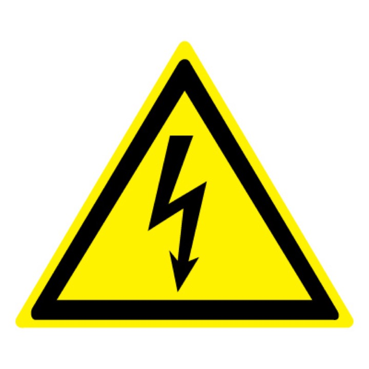 Знак W08 Опасность поражения электрическим током •ГОСТ 12.4.026-2015• (Пленка 100 х 100)