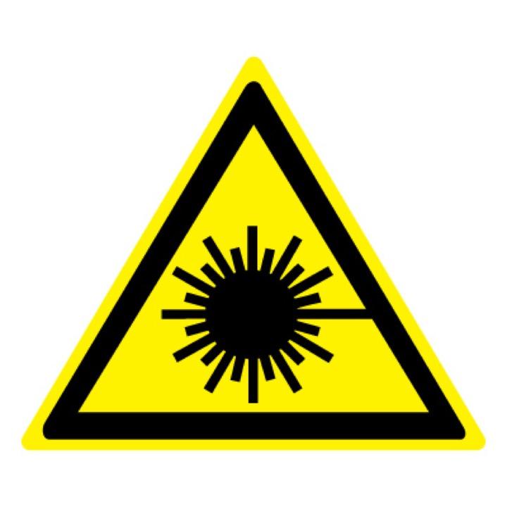 Знак W10 Опасно! Лазерное излучение •ГОСТ 12.4.026-2015• (Пленка 200 х 200)