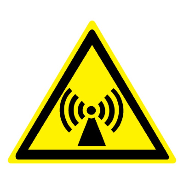 Знак W12 Внимание! Электромагнитное поле •ГОСТ 12.4.026-2015• (Пленка 200 х 200)