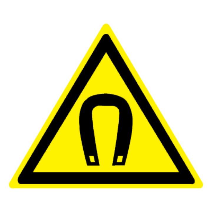 Знак W13 Внимание! Магнитное поле •ГОСТ 12.4.026-2015• (Пластик 200 х 200)