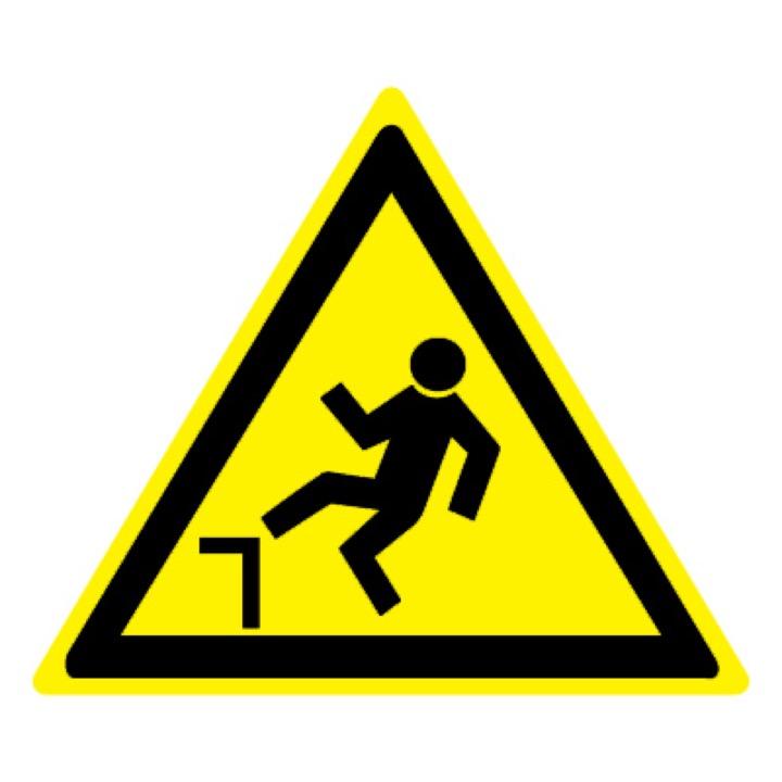 Знак W15 Осторожно! Возможность падения с высоты •ГОСТ 12.4.026-2015• (Пластик 200 х 200)