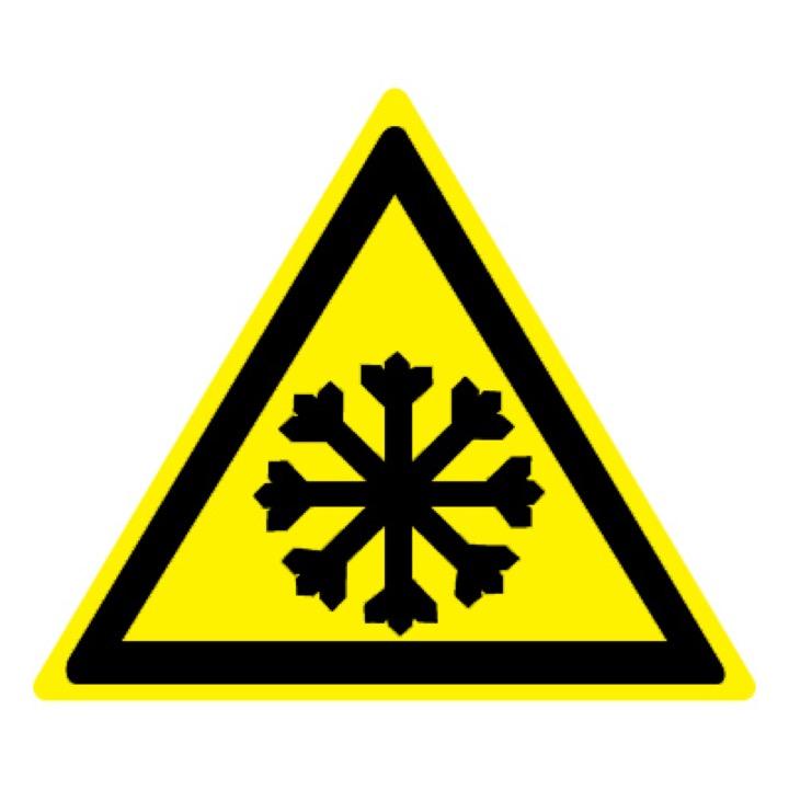 Знак W17 Осторожно! Холод •ГОСТ 12.4.026-2015• (Пластик 200 х 200)