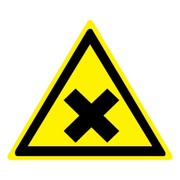 Знак W18 Осторожно! Вредные для здоровья аллергические (раздражающие) вещества •ГОСТ 12.4.026-2015• (Пластик 200 х 200)